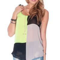 Chock Blocked Tank Top in Neon Green :: tobi