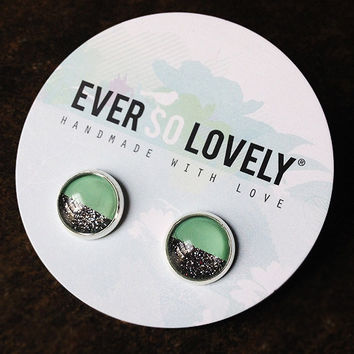 mint green and metallic silver stud earrings - mint wedding - metallic half moon earrings