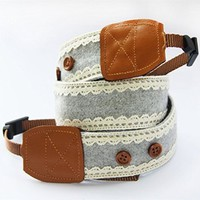 Blue Lace Handmade Camera Strap with Fastener Detail 052808 S0607