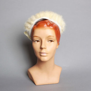50s White MINK Fur HAT / Velvet Circlet, Giant Satin BOW