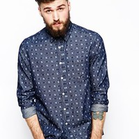 ASOS Shirt in Long Sleeve with Geo Print