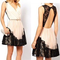 White V Neck Lace Dress with Cut Out Back 051312 C0529