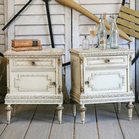 One of a Kind Louis XVI Vintage Nightstand Original Sandy Cream Crackle Set of 2