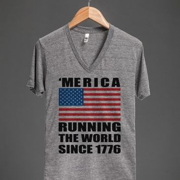 'merica running the world since 1776 vneck - glamfoxx.com - Skreened T-shirts, Organic Shirts, Hoodies, Kids Tees, Baby One-Pieces and Tote Bags