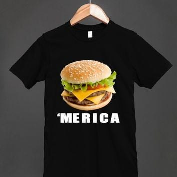 'merica cheesburger blk tee shirt - glamfoxx.com - Skreened T-shirts, Organic Shirts, Hoodies, Kids Tees, Baby One-Pieces and Tote Bags