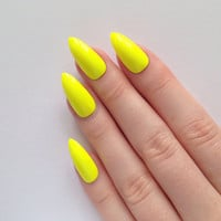 Neon Yellow Stiletto nails, Nail designs, Nail art, Nails, Stiletto nails, Acrylic nails, Pointy nails, Fake nails