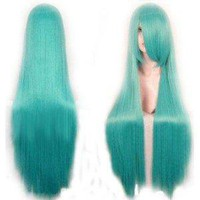 "US 3-5 Days Delivery Cool2day 40"" Crypton Future Media Vocaloid Long cyan straight Wigs party Cosplay wig jf010078"