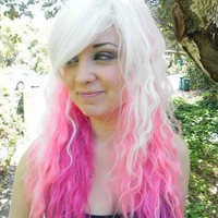 """I'm a Barbie Girl"" Pink and White Long Wavy Layered Wig"
