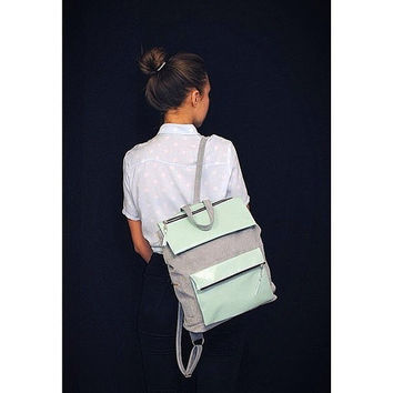 Genuine Leather \  Suede Women \ Men Grey \  Mint  Backpack Rucksack Handmade