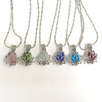 Sea Glass Lotus Flower Locket Choose Your Color  by Wave of LIfe