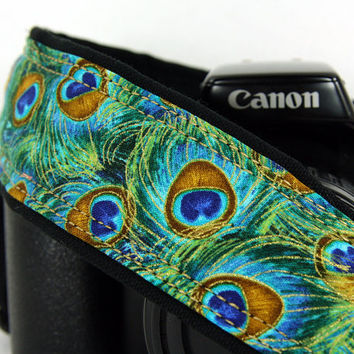 dSLR Camera Strap, Peacock Feathers, Teal, Green, Aqua, Gold,  SLR, 37 w
