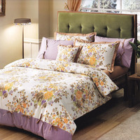 Custom Queen or Full Size Lilac Mustard Yellow Brown Floral Bouquet Printed on White Backround Bedding Set