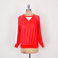 Red & White Stripe Terrycloth Red Terry Cloth Top Shirt Pullover Sweater Raglan Sweatshirt Jumper 70s 80s Unisex Men M Medium Women L Large