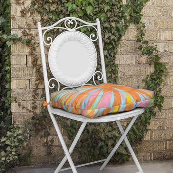 Rosie Brown Pin Wheel Outdoor Seat Cushion