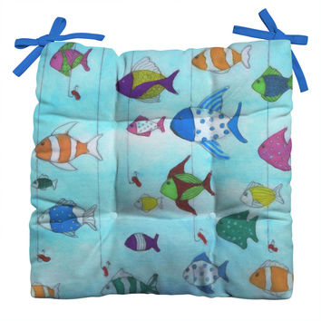 Rosie Brown Tropical Fishing Outdoor Seat Cushion