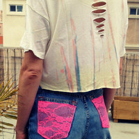 Crop Top Boho Hippie Tie Dyed M by UnraveledClothing on Etsy