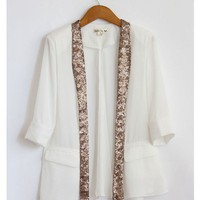 Chiffon Cut Out Sequin Collar Blazer