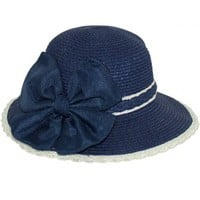 Dahlia Women's Summer Sun Hat - Braid Edge Butterfly Bow Straw Bucket Hat - Blue
