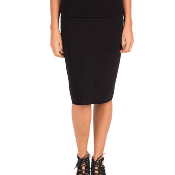 Super Soft Fold Over Pencil Skirt - Black /
