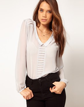 ASOS | ASOS Blouse With Drop Collar And Pintuck Shoulders at ASOS