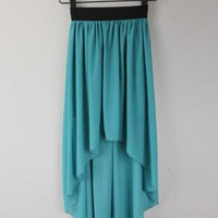 Green Long Skirt - High-Low Hem Chiffon Skirt | UsTrendy