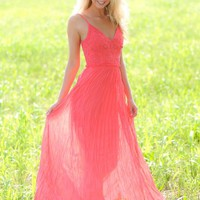 Call The Paparazzi Maxi Dress-Coral
