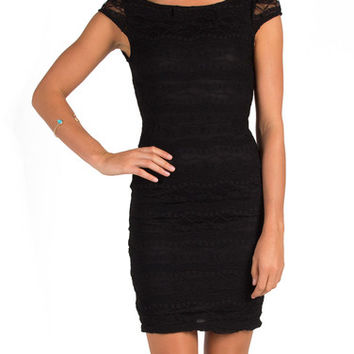 Lacey Backless Dress - Black - Black /