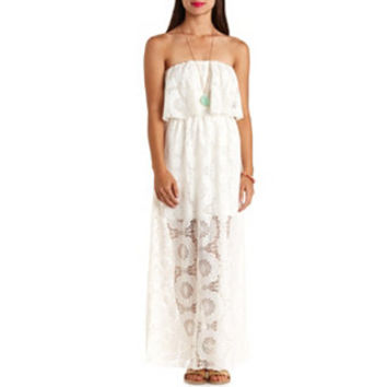 CROCHET RUFFLE STRAPLESS MAXI DRESS