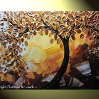 Original Abstract Tree Painting Gold Tree of by ChristineKrainock