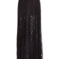 Goth Black Lace Maxi Skirt