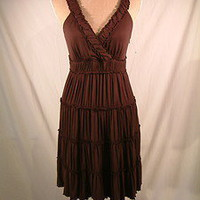 Spense Petites brown boho hippie viscose stretch summer dress sz P Medium | eBay