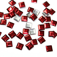 DIY 200 PCS Red Pyramid Square Studs - Iron On, Hot Fix, or Glue On