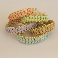 Pastel Sorbet - Handwoven Stacking Summer Bracelets In Mint Peach Beige Lavender Or Lime Choose Your | Luulla