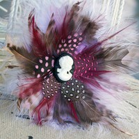 Handmade Pink and White Cameo Flower Fascinator - 4 inches | peaceloveandallthingsjewelry - Accessories on ArtFire