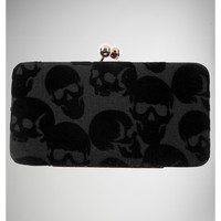 Skulls Flocked Kisslock Wallet