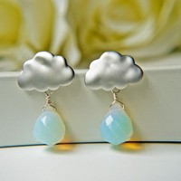 Matte White Gold Rain Cloud Earrings. Opalite Briolette Rain Drops. Rainy Season | Luulla