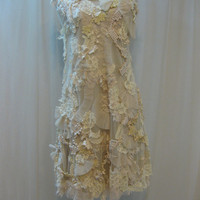 Custom-Made, Hand-Embroidered Ivory Pearl Dress