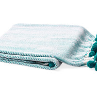 Pom-Pom Cotton Throw, Turquoise, Throws