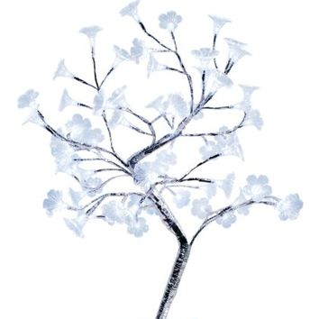 Simple Designs NL2005-CHR Morning Glory LED Lighted Decorative Tree, Large, White
