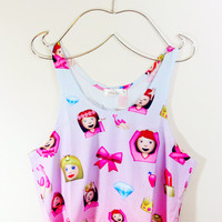 Princess Emoji Crop Tank Top