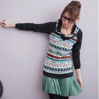 Leisure Geometry Pattern Top Jacket Hooded Design Slim Tees Blue-Wholesale Women Fashion From Icanfashion.com