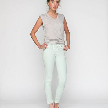 Mint Zipper Capri