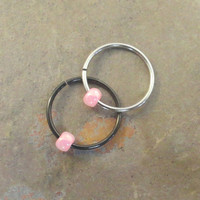 Light Pink Beaded Cartilage Hoop Earring Septum Tragus Nose Ring Upper Ear Piercing 20 Gauge