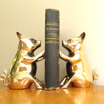 Vintage Brass Pig Bookends, Gold Pig Book Ends, Hog, Farm Animal Collectible, Pair of Pigs, Large