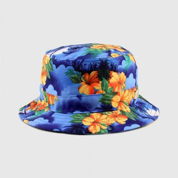 Camp - Tropical Palms Bucket Hat (Blue)