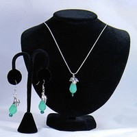 Mint Green Pendant Silver Serpentine Necklace and Matching Earrings
