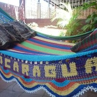 Beautiful Hand Made Hammock plus One Custom Tag, Turquoise arms