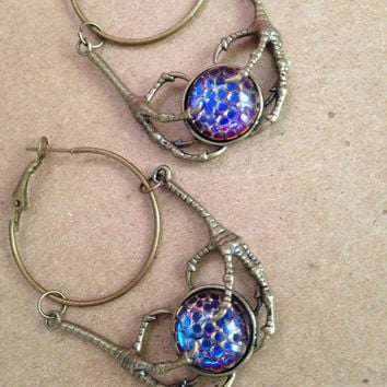 Mini blood moon dragon hoop earrings iridescent magic medieval