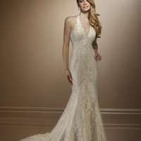 Sexy Mermaid Halter Wedding Dress Bridal Gown With Applique And Bead