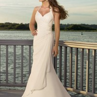 Posh Column Halter Chiffon Wedding Gown Bridal Dress With Applique And Bead